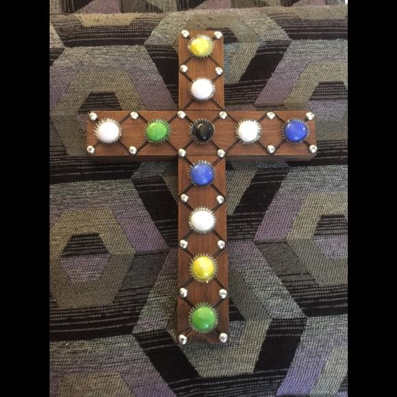 Beautiful Wood Cross Decor Detailed w/Jewels